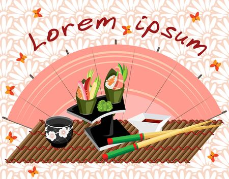 Vector illustration with Temaki sushi on a stand, a cup of sake and chopsticks on a bamboo mat. Background with floral ornament with butterflies and pink fan