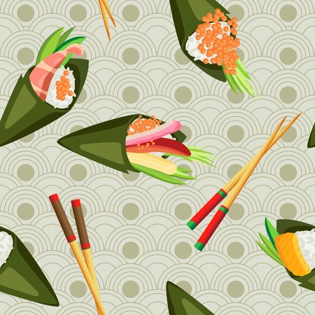 Seamless temaki with different fillings and wooden chopsticks on a Japanese background Vettoriali