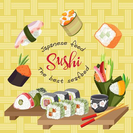 Illustration with different sushi, chopsticks, and wasabi on a sushi board. Background abstract network
