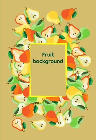 Fruit background of fresh colored whole pears and halves with a frame for text