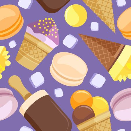 Seamless pattern of different ice cream and ice cubes. On a purple background