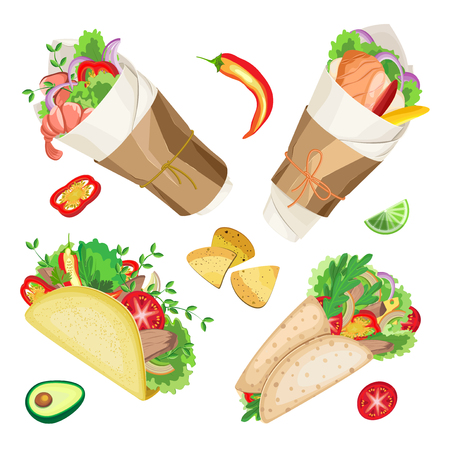 Set traditional Mexican food. On a transparent background Vettoriali
