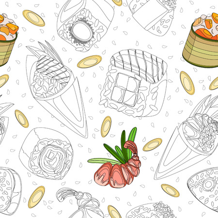 Vector seamless pattern. Sushi contour and contour filled with ingredients. Transparent background Vettoriali