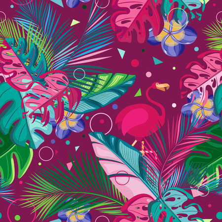 Summer seamless pattern. Flamingo colored tropical leaves and flowers on a dark burgundy background Vettoriali