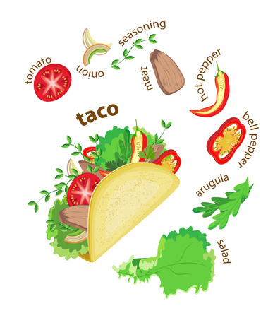 Delicious taco with meat and ingredients around. Transparent background and titles.