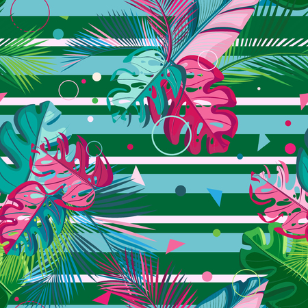 Seamless pattern. Tropical leaves on the background of color stripes and small geometric shapes
