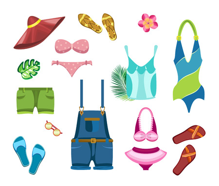 Set of beach clothes and tropical leaves on a transparent background. Çizim