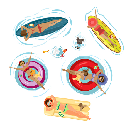 Summer set girls with dogs swim and sunbathe on an inflatable mattress, surfboard, and inflatable circles. Isolated objects on a transparent background.