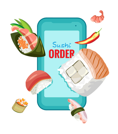 Online order Chinese sushi on a smartphone. For design. Isolated object on transparent background. Vettoriali