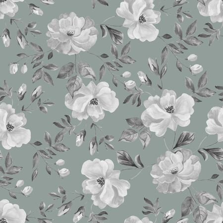 Watercolor seamless pattern of roses. Design for fabric, Wallpaper napkins, textiles, packaging paper. White flowers on a grey background.
