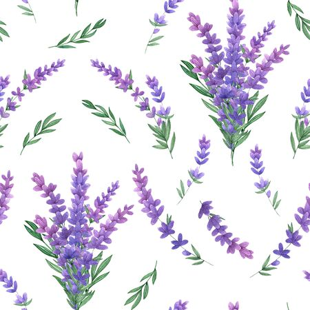 Watercolor seamless pattern with with lavender on a white background