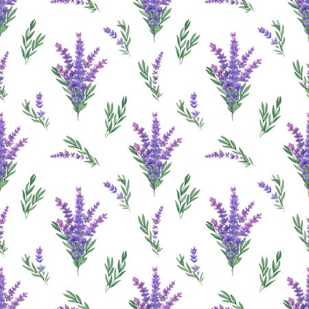 Watercolor seamless pattern with lavender and leaves. Design for textiles on a white background handmade 版權商用圖片