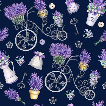 Provence seamless pattern on a black background.