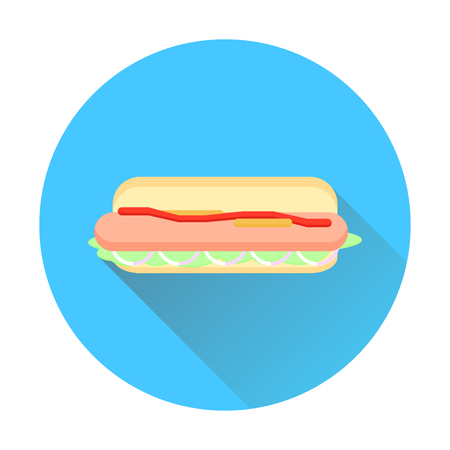 hot dog bun: Flat hot dog with bun and with a long shadow. Icon hot dog.