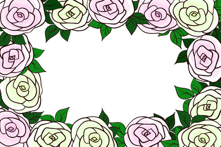 yellow roses: Beautiful frame of pink and green and yellow roses with delicate shades of leaves. Natural background with flowers. Vector illustration Illustration