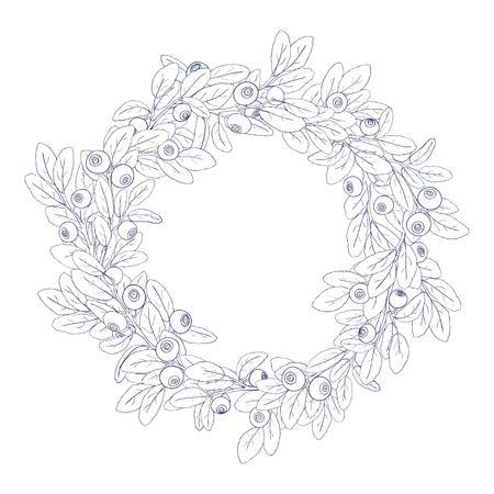 tench: Round wreath or frame of branches of blueberry with berries on a white background. The branches are painted dark tench and filled with white. Wreath isolated from the background. Vector illustration.
