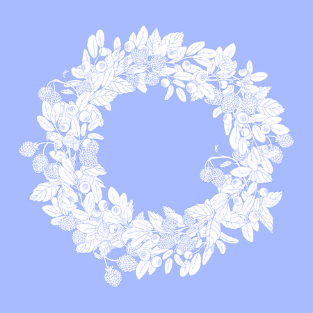 tench: Round wreath or frame with sprigs of blueberries and raspberries on a blue background. The branches are painted blue tench and filled with white.Wreath isolated from the background.Vector illustration