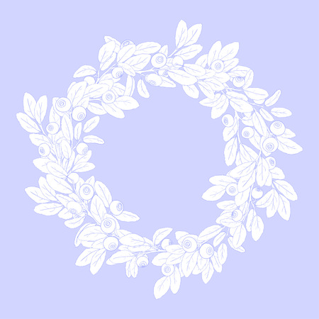 tench: Round wreath or frame of branches of blueberry with berries on a blue background. The branches are painted blue tench and filled with white. Wreath isolated from the background. Vector illustration.