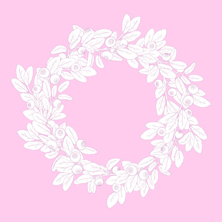 bilberry: Round wreath or frame of branches of blueberry with berries on a pink background. Sprigs painted pink tench and filled with white. Wreath isolated from the background. Vector illustration.