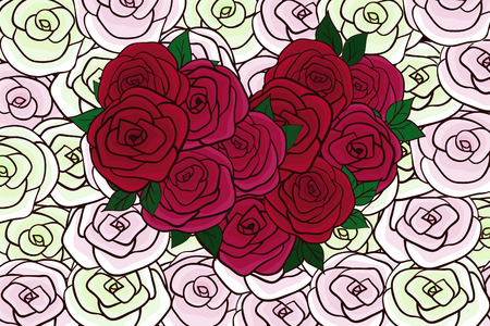 pastel shades: Greeting card with a flat cartoon heart of red roses on a background of roses pastel shades. Background from flowers. Vector illustration