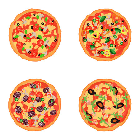 tastes: Set flat isolated pizza with different tastes. Italian pizza with mushrooms, salami, seafood and vegetables. Vector illustration Illustration