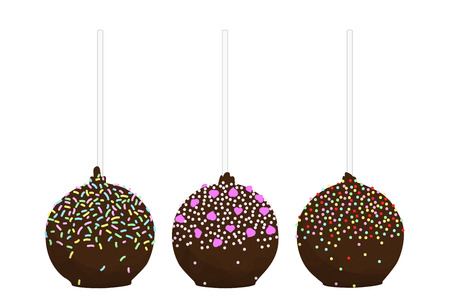 cupcakes isolated: Set of isolated flat cake pop. Cupcakes round shape on a stick. Vector illustration