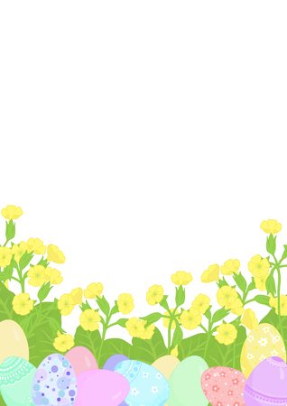 Happy Easter greeting card or background, Easter Eggs, decorated with a decorative pattern surrounded by delicate yellow flowers primroses. Vector illustration