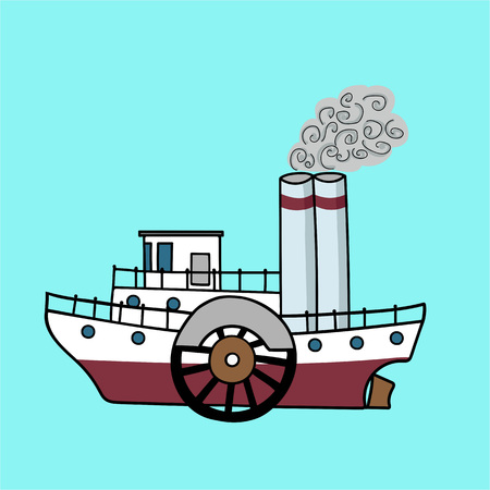 Cartoon flat steamship in the retro style. Old steamboat on a blue background. Vector illustration