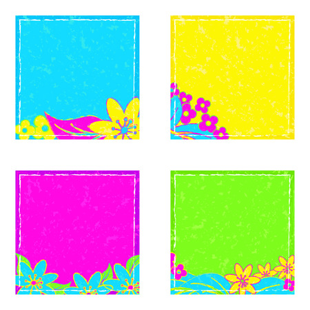 tacky: Bright isolated stickers in neon-style entries. Stickers with the texture of the spots and the frame. Vector illustration Illustration