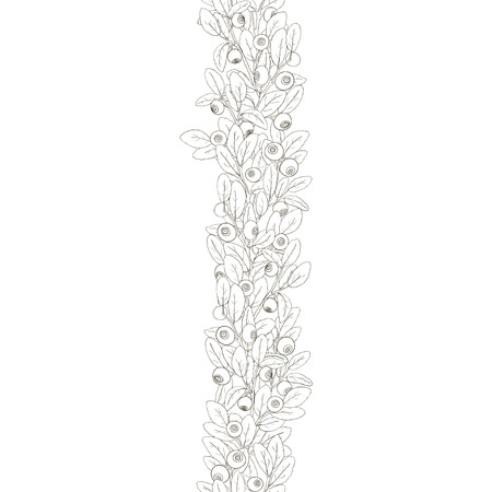 bilberry: Seamless border of twigs of blueberry with berries and leaves on a white background. Berries hand painted dark lines and painted white. Vector illustration.