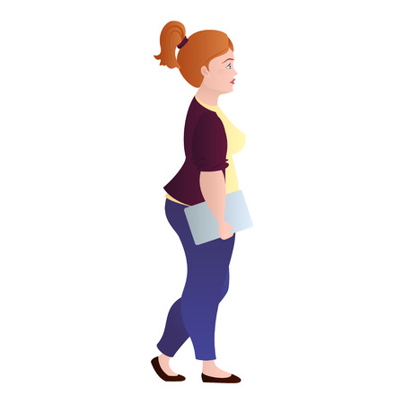 Girl with overweight in casual clothes and with folder in hand on a white background. Fat woman in the office. Isolated. illustration