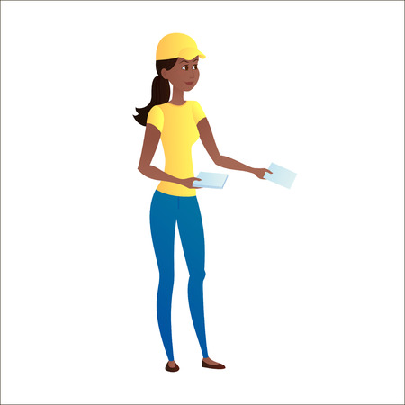 Pretty girl with dark skin handing out leaflets on a white background. Isolated. Advertising campaign. Leafleting. illustration Vettoriali