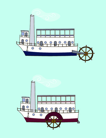 Cartoon steamer in retro style with different positions of the water wheel (side, back). Old steamboat on a blue background. Illustration