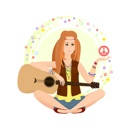 woodstock: Red-haired girl of hippie with a guitar surrounded by flowers and characters in costume jewelry and womens hippies. A girl holding a peace sign or the Pacific. illustration.