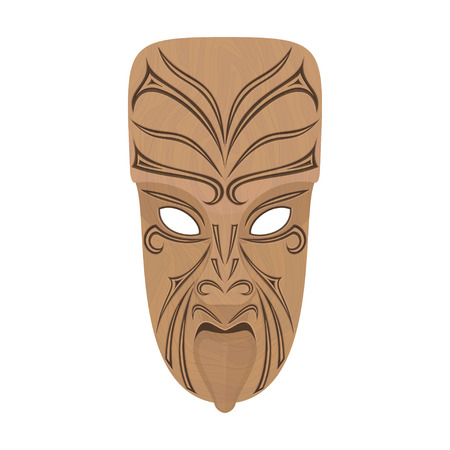 wooden mask: Maori wooden mask on a white background. Isolated. illustration