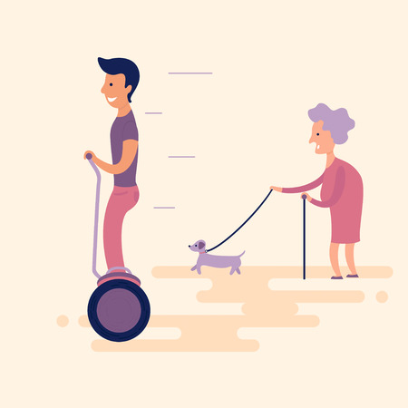 Man on gyroscooter overtaken by an old lady with a dog.  New technologies in everyday life. Flat. illustration