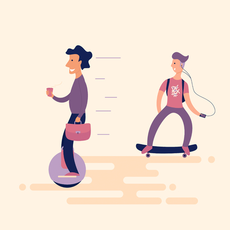 A solid man with coffee on the unicycle overtaken surprised teenager on a skateboard. New technologies in everyday life. Flat. illustration Illustration