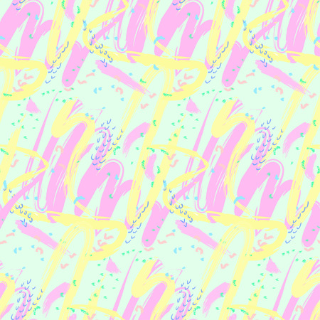 Seamless abstract pattern of various shapes smear soft pastel colors in an arbitrary manner. Background. Vector illustration Çizim