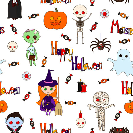 collocation: Seamless pattern with cute cartoon monsters, various objects and words (Happy Halloween, Monster), decorated in bright colors on a white background. Vector illustration