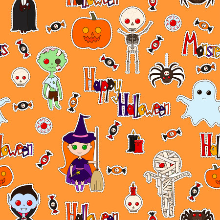 collocation: Seamless pattern with cute cartoon monsters, various objects and words (Happy Halloween, Monster), decorated in bright colors on an orange background. Vector background with stickers, pins, patches.