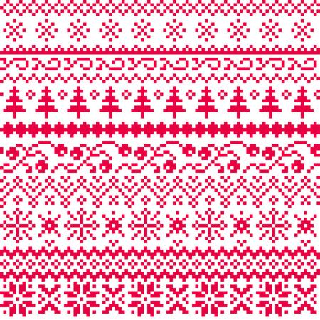 Natale seamless vettore con motivi etnici in rosso su uno sfondo bianco. Nuovo anno. Pixel.