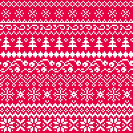 Modello vettoriale senza soluzione di continuità di Natale con motivi etnici in bianco su sfondo rosso. Nuovo anno. Pixel. Vettoriali