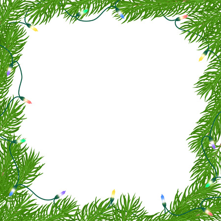 Natural Christmas square frame of bright green branches of fir, entangled luminous garland of colored light bulbs. Isolated from the background. Hand drawn vector illustration.