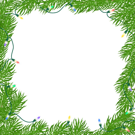 Natural Christmas square frame of bright green branches of fir, entangled luminous garland of colored light bulbs with snow and snowflakes. Isolated from the background.Hand drawn vector illustration.