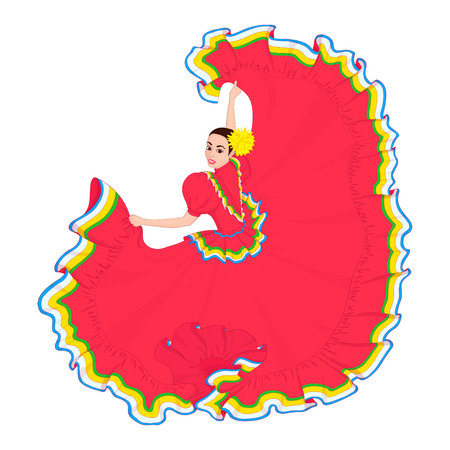 The girl dances in a Mexican bright red traditional dress. Cinco de mayo, holiday. Vector illustration of a hand drawn black outline on a white background.