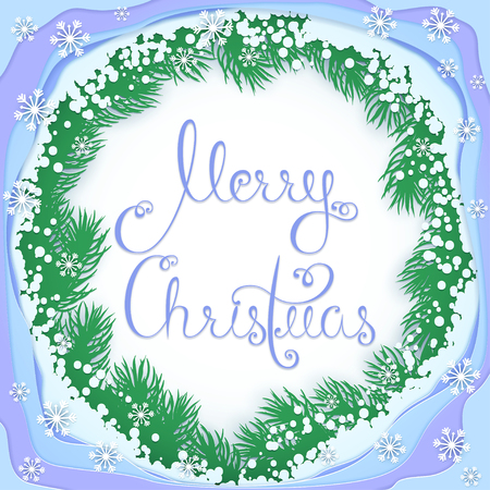 Christmas greeting frame with paper branches. Festive Christmas illustration for greeting cards. Lettering is removed