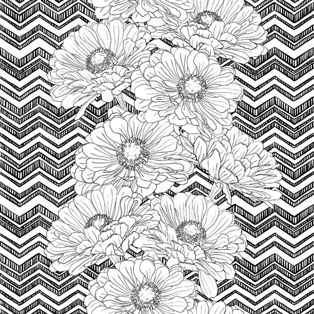 A seamless pattern with gerbera flowers on a background of zigzags drawn by hand in white and black. Vector natural monochrome outline illustration