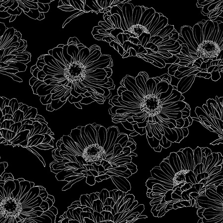 Seamless pattern with gerbera flowers hand-drawn in black and white on a black background. Vector natural monochrome outline illustration.