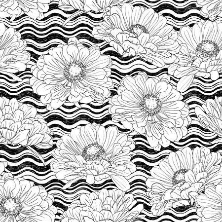 Seamless pattern with gerbera flowers on a background of waves drawn by hand in white and black. Vector natural monochrome outline illustration