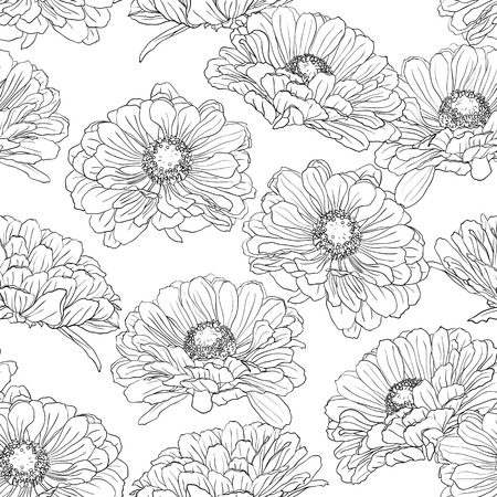 Seamless pattern with gerbera flowers hand-drawn in black and white on a white background. Vector natural monochrome outline illustration